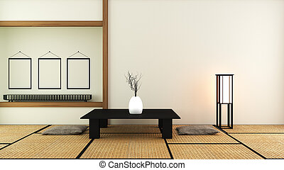 Japanese style - Room interior design. 3D rendering