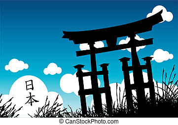 Japanese style - vector illustration of a Japanese...