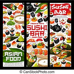 Japanese sushi and rolls, Asian food bar banners - Japanese...