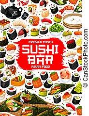 Japanese sushi and rolls, Asian food menu - Japanese sushi...