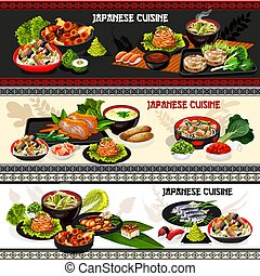 Japanese sushi, baked fish and meat with vegetable