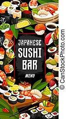 Japanese sushi bar and cuisine, vector - Sushi bar, Japanese...