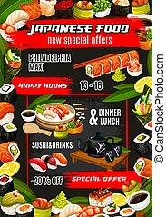 Japanese sushi bar, asian cuisine food menu - Japanese sushi...