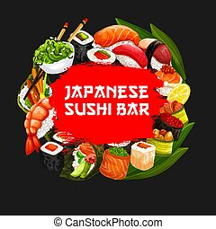 Japanese sushi bar food menu cover