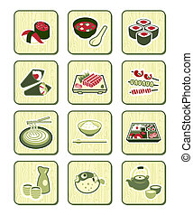Traditional japanese food icons over bamboo pattern