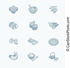 Japanese sushi-bar icons | TECH series