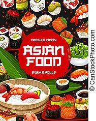 Japanese sushi bar menu, Asian cuisine food - Japanese sushi...