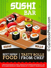 Japanese sushi bar sashimi and maki rolls menu - Japanese ...
