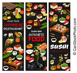 Japanese sushi cafe and Asian food delivery menu - Japanese...