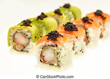 Japanese sushi closeup on white background