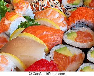 Japanese Sushi - Japanese sushi close up with a variety of ...