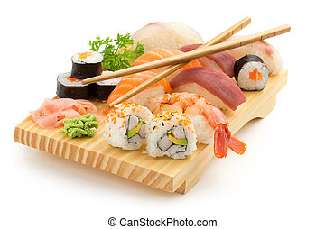 japanese sushi plate - japanese seafood sushi and chopsticks...
