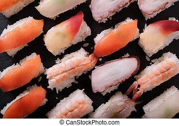 Japanese sushi platter various different
