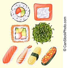 Japanese sushi roll and raw fish