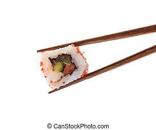 Japanese sushi roll isolated on white background
