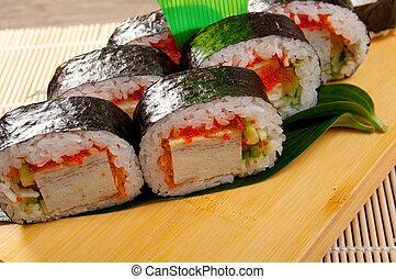 Japanese sushi Roll made of Smoked fish - Japanese sushi ...