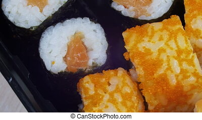 Japanese Sushi Rolls Close-up Rotates