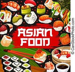 Japanese sushi sashimi and maki rolls menu - Japanese sushi ...