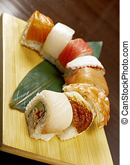 Japanese sushi traditional japanese food. Roll made of Smoked fish