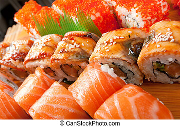 Japanese sushi traditional japanese food.Roll made of Smoked...