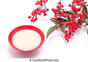 Japanese sweet mild sake and nandina domestica
