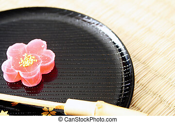Japanese Sweet, shape and taste like a cherry blossom (Sakura). This is a typical japanese sweet, tasty and very aesthetic.