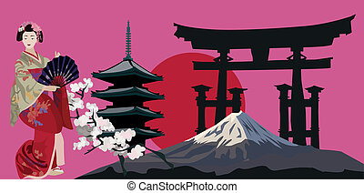 Japanese Symbols - Illustration with Geisha, Japanese Pagoda...