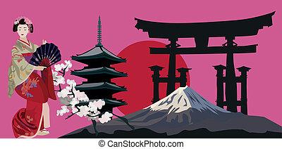 Japanese Symbols - Illustration with Geisha, Japanese Pagoda...