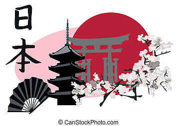Japanese Symbols - Ilustration with Japanese Landmarks;...