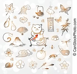 Japanese symbols of  happiness