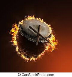 Japanese Taiko percussion drum in fire