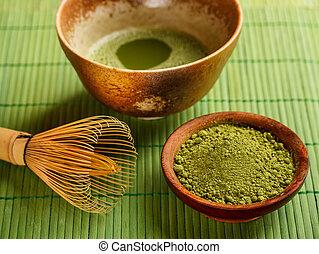 Japanese tea ceremony, Matcha on green bamboo tablecloth