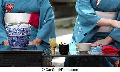 Japanese tea ceremony - KAGAWA, JAPAN - SEPTEMBER 23, 2015:...