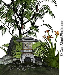 Japanese styled tea garden corner with stone lantern (toro) and plants including ferns, sumac tree and day lilies, 3d digitally rendered illustration