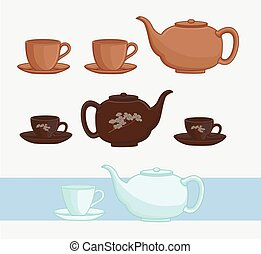 Japanese Teapot and Cups Vector