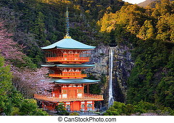 Japanese temple and Waterfall