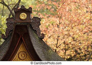 japanese temple at fall