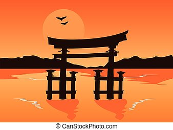 Japanese temple gate silhouette on lake at sunset
