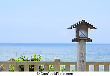 Japanese temple on the sea background