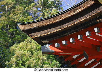 Japanese temple roof, a traditional architectural detail.