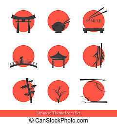 Japanese theme icons set elements for your logo design