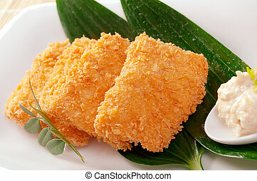 Japanese Tonkatsu, pork cutlet closeup