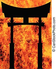 Japanese Tori Gate Over A Blazing Inferno - A typical...