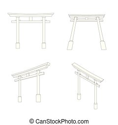 Japanese Torii perspective and isometric view, Editable...