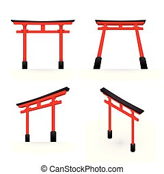 Japanese Torii red color perspective and isometric view...