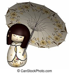 Japanese traditional doll - 3d render of a japanese...