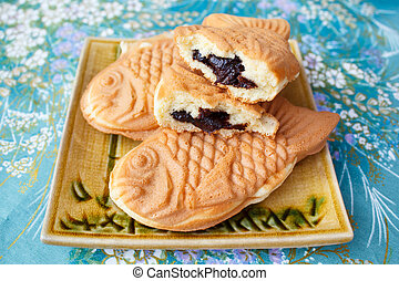 Japanese traditional fish-shaped cake, Taiyaki. - taiyaki of...