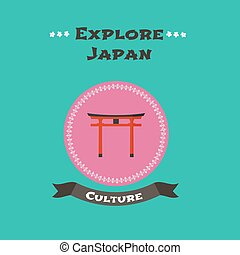 Japanese traditional gate vector illustration. Concept...