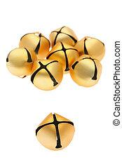 golden bells - Japanese traditional golden bells on white...