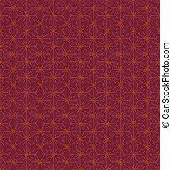 japanese traditional hemp leaf pattern in dark red background